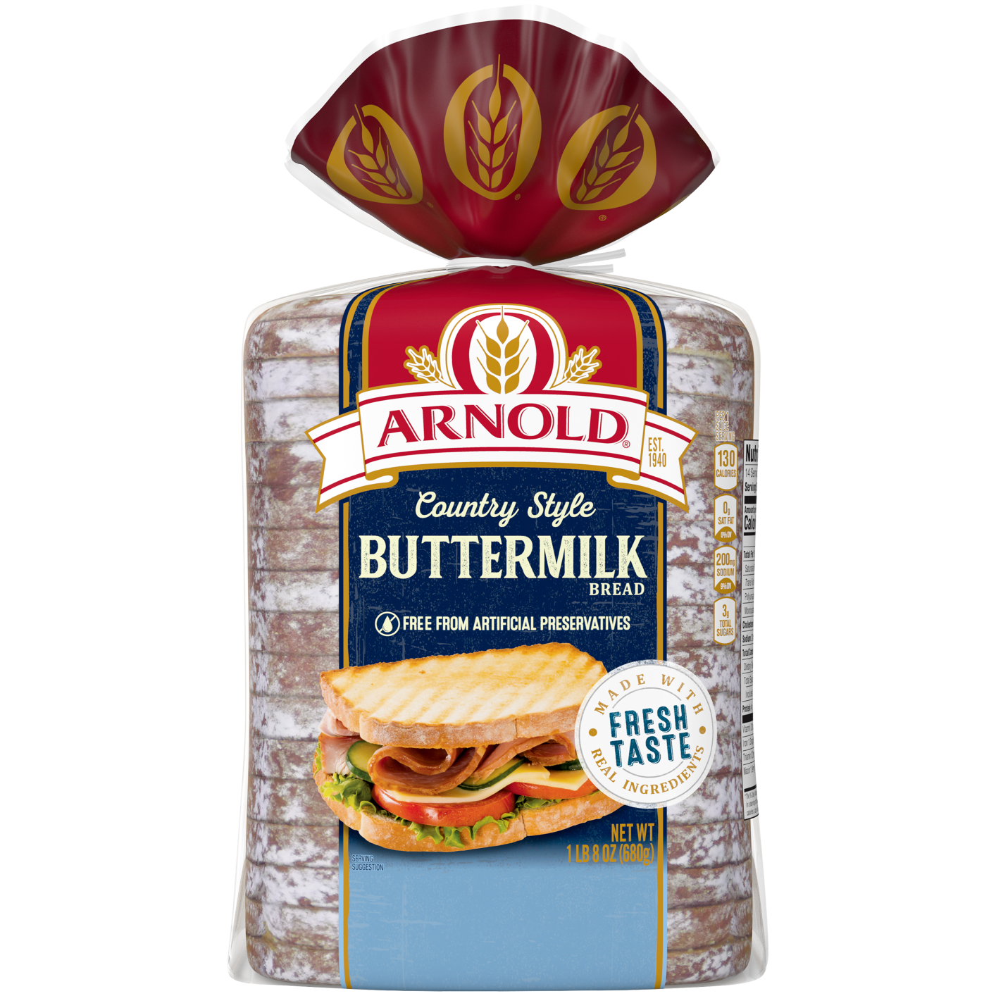 Arnold Country Style Buttermilk Bread 24oz Packaging