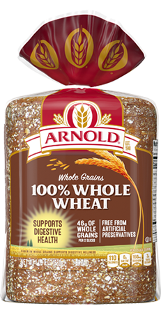 Arnold 100% Whole Wheat Bread 24oz Packaging