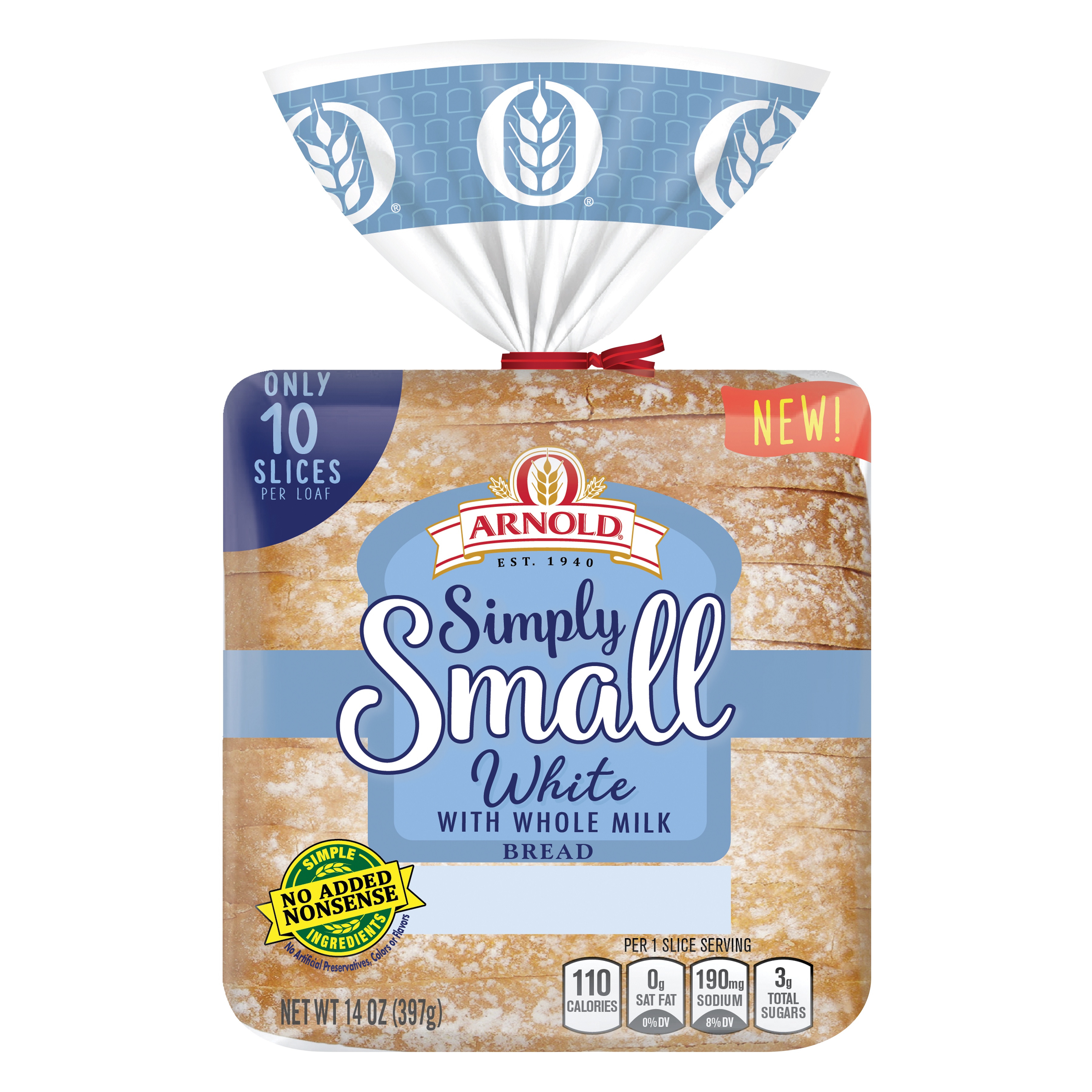Arnold Simply Small White with Whole Milk Bread Package Image