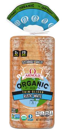 Arnold Organic Thin Sliced Rustic White Bread Package Image