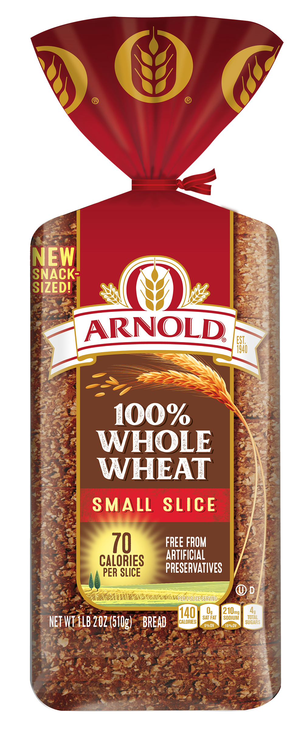 Arnold Small Slice 100% Whole Wheat 18oz Packaging