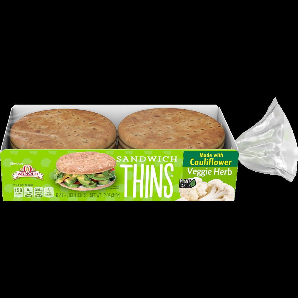 Arnold Veggie Herb Sandwich Thins Rolls Made with Cauliflower