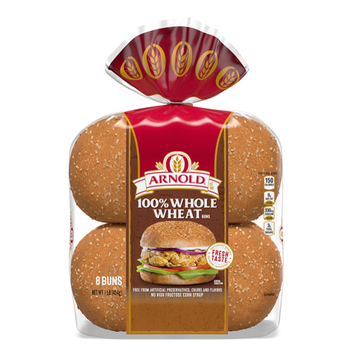 Arnold 100% Whole Wheat Sandwich Buns Package