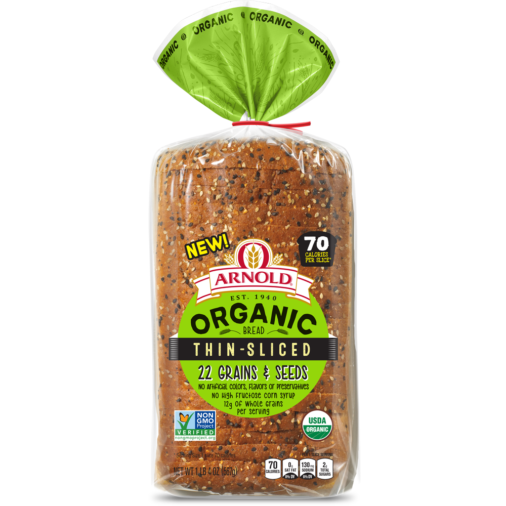 Arnold Organic Thin Sliced 22 Grains & Seeds Bread Package Image