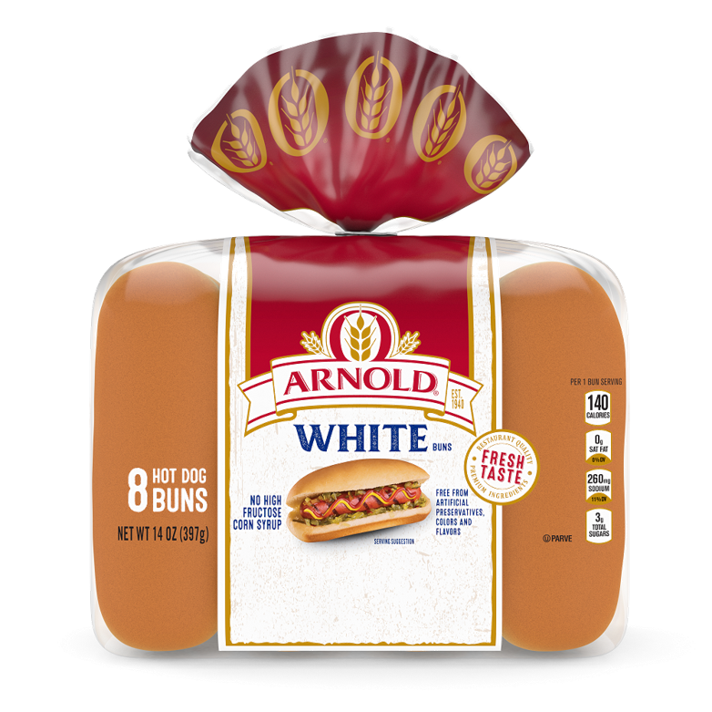 Arnold White Hot Dog Buns Package
