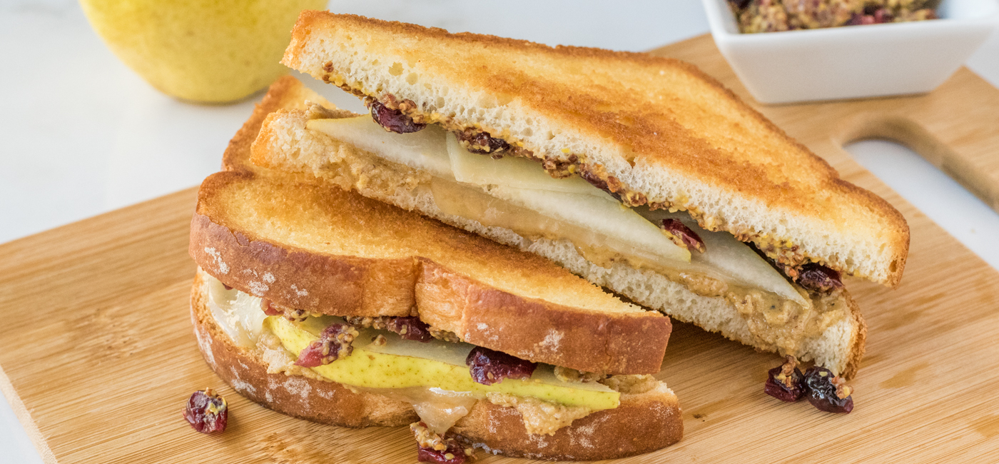 Grilled White Cheddar with Pears, Walnut Pesto & Cranberry Mustard Recipe Image