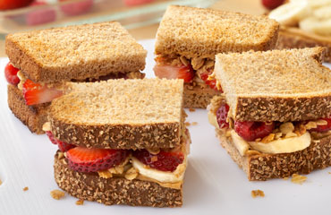 Toasted Peanut Butter, Banana and Berry Sandwich Recipe Image