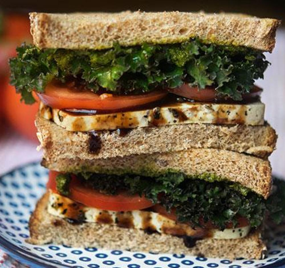 Balsamic Herbed Tofu, Tomato, Pesto and Kale Sandwich Recipe Image