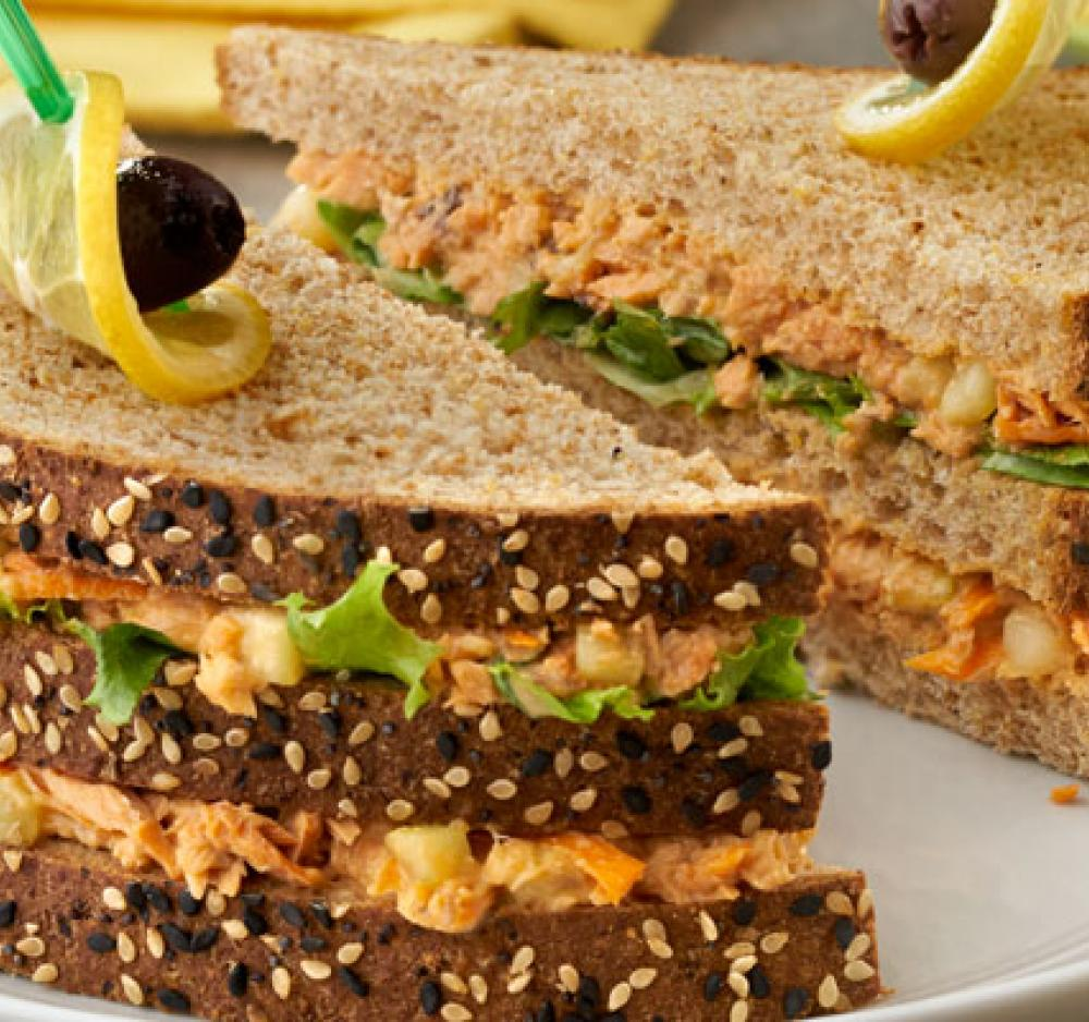 Mediterranean Sesame Ginger Salmon Steak Sandwich recipe image