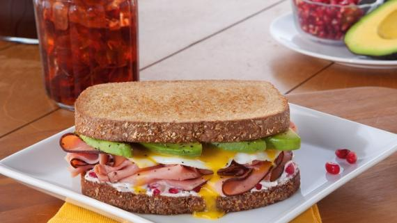 Avocado, Egg and Ham Sandwich with Pomegranate Marscarpone Recipe Image