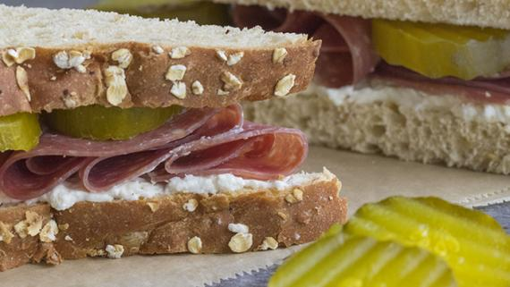 Salami, Cream Cheese & Pickle Sandwich - Recipe Image