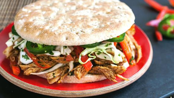 Asian BBQ Pulled Chicken Sandwich with Slaw Recipe Image