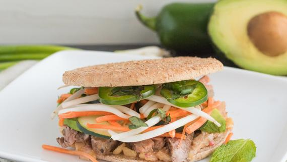 "Last Night's Grilled Flank Steak with Plum Sauce ""Banh Mi"" Style Sandwiches Recipe Image"