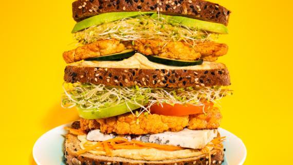 Buffalo Cauliflower Veggie Triple Decker Recipe Image