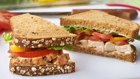 Grilled Chicken Caesar & Bell Pepper Sandwich Recipe Image